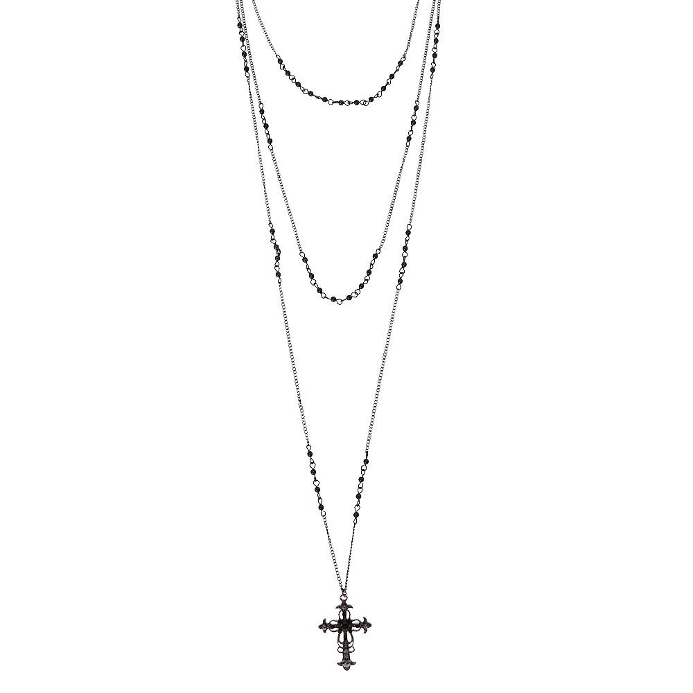 6bebe71f640f Claire s Girl s Black Triple Layer Cross Necklace  Claire s  Amazon.co.uk   Clothing