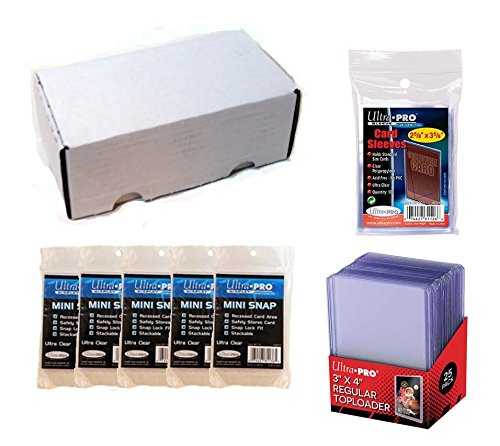 Ultra Pro Card Collector Supplies Starter Kit Bundle Top Loaders Sleeves Mini Snap Holders /& 400 Count Storage Box