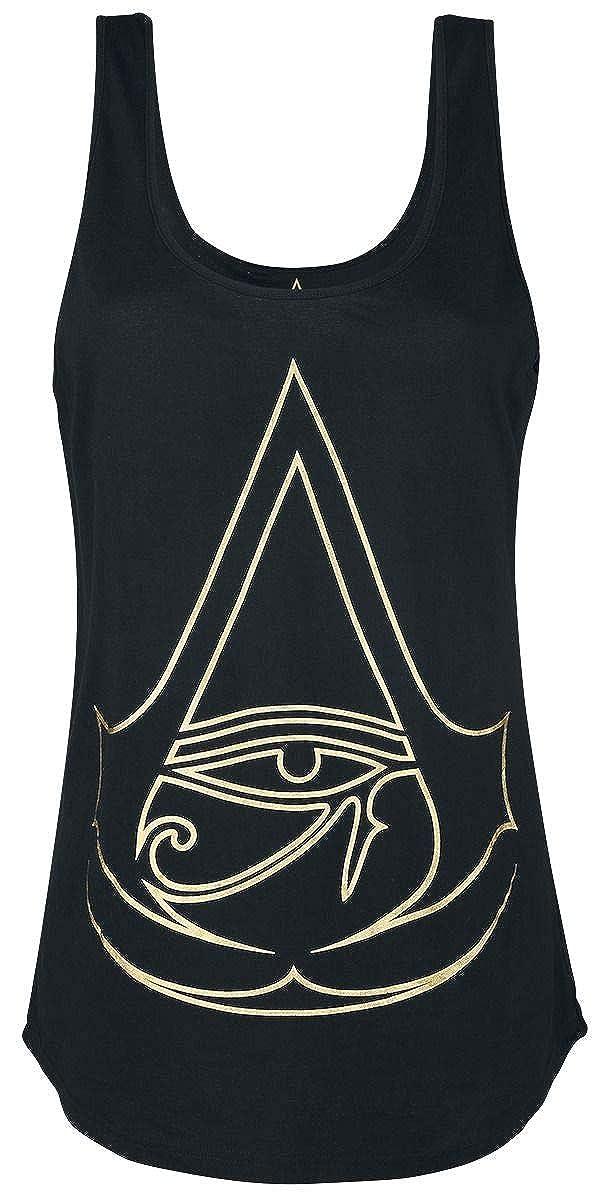 Assassin's Creed Camisetas Sin Mangas Origins Logo Golden Crest Algodó n Negro