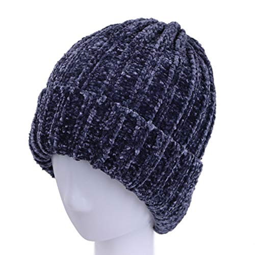 Winter Warm Hats for Women Solid Lady Vintage Chenille Knit Hat Thick Female Beanies Fur Caps 2018 New Blue
