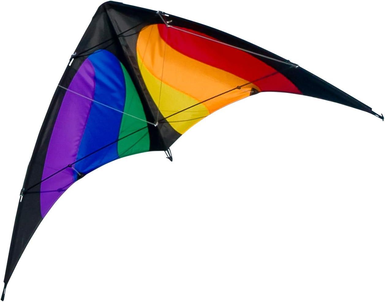 Cometa acrobática - NUNCHAKU Rainbow MUSTHAVE - Cometa para niños de a Partir de 8 años - 140 x 70 cm - Incl. Cuerdas de dirección en bobinas - Cometa para Principiantes