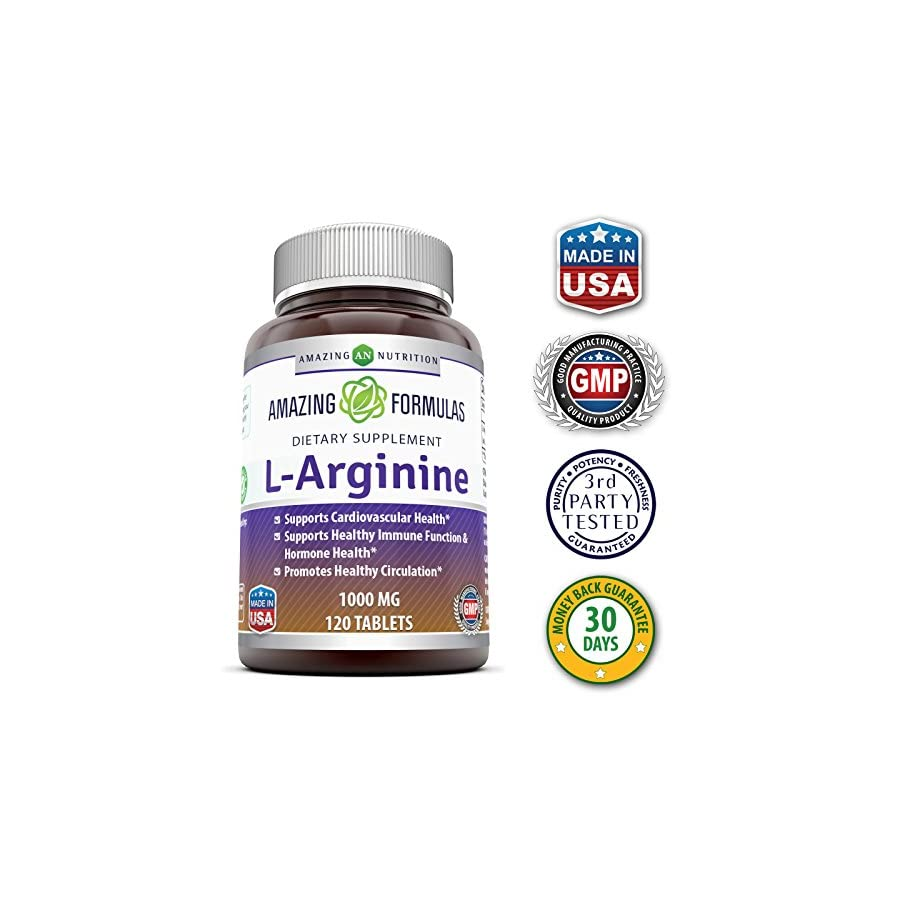 Amazing Nutrition L Arginine 1000mg Supplement Best Amino Acid Arginine HCL Supplements for Women & Man Promotes Circulation and Supports Cardiovascular Health 120 Tablets