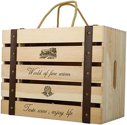 LIXIANLAN WINK Caja De Vino De Madera Maciza, Seis Cajas De Madera ...