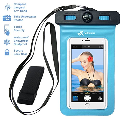 ⚡ [ PREMIUM QUALITY ] Universal Waterproof Phone Holder with ARM BAND, COMPASS & LANYARD - Best Water Proof, Dustproof, Snowproof & Shockproof Pouch Bag Case for Apple iPhone, Android (Apple Ipod Lanyard)
