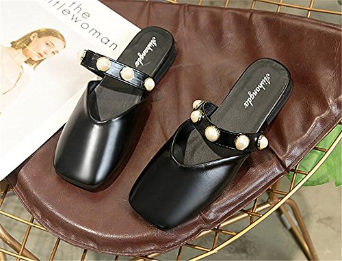 excellent Women's Fu Lok Slippers Non Slip Square Black Head Toe Shoes c Flat Closed Shoes rwqAtr