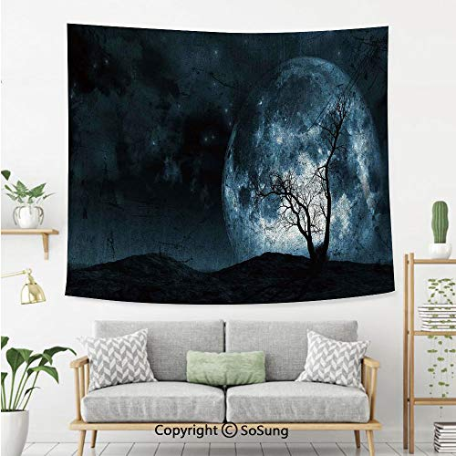 SoSung Fantasy Wall Tapestry,Night Moon Sky with Tree Silhouette Gothic Halloween Colors Scary Artsy Background,Bedroom Living Room Dorm Wall Hanging,60X40 Inches,Slate Blue -
