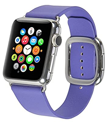 JSGJMY Smart Watch Band 42mm Leather Bracelet Replacement Strap for Smart Watch Sport & Edition (Purple+Silver Buckle,42mm L)