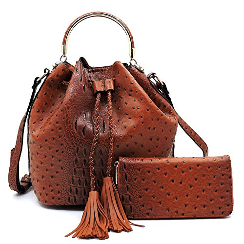 2 PC Set Ostrich Croco Embossed Vegan Faux Leather Cross body Bucket Handbag Purse with Matching Wallet - Handbag Embossed