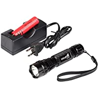 WindFire WF-501B 850nm Infrared Radiation IR Night Vision Tactical LED Hunting Flashlight 18650 Battery Torch -To Be Used with Night Vision Device (Infrared Light Is Invisible) (Torch+Battery+Charger)