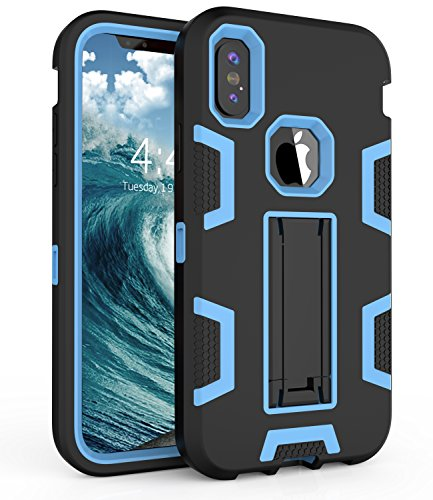 iPhone X Case,iPhone X Edition Case,ADCOOG [Slim Armor] Three Layer Protective Case with Kickstand High Impact Resistant Hybrid Case for iPhone X,Blue Black