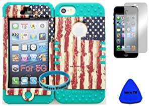 Wireless Fones TM Bumper Case for Iphone 5 USA US Flag Snap on + Teal Silicone Gel (Included: Wristband, Pry Tool and Screen Protector Exclusively By Wirelessfones TM)