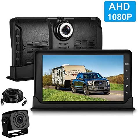 Leekooluu Backup Camera Dash Camera High-Speed Observation DVR System for RVs Trucks Trailers Motorhomes 7 inch FHD 1080P G-Sensor,Motion Detection Loop Recording,IP 69K Waterproof Night Vision