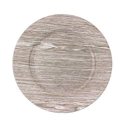 Koyal Wholesale 424677 Faux Wood Charger Plates, Birch