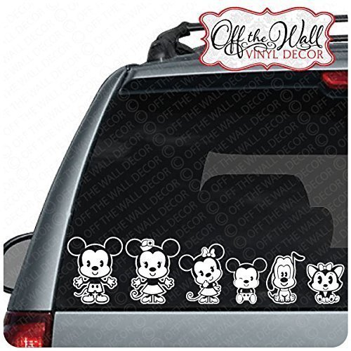 Disney Family Window Decal - Mickey & Minnie Cutie Family Vehicle Car Truck Decal Stickers [WHITE ONLY]