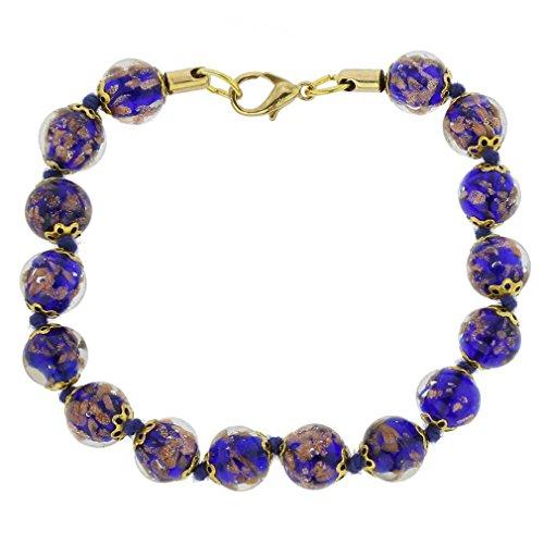 GlassOfVenice Murano Glass Sommerso Bracelet - Navy Blue ()