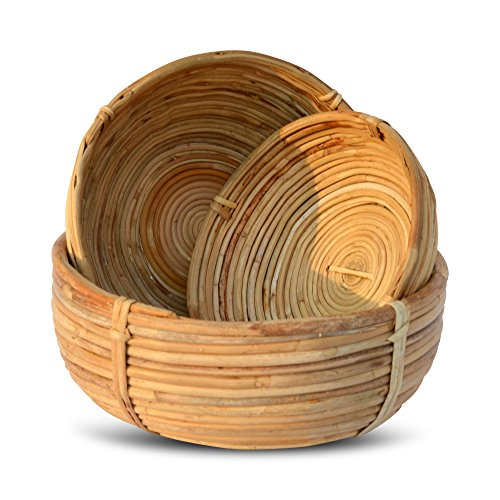 Whole House Worlds Naturally Modern Baskets, Set of 3, Bowl Shaped, Rustic Natural,Woven Palm Cane, Stitched and Ribbed Details, 9 3/4, 8 1/4, and 6 3/4 Inches in Diameter, By WHW by Whole House Worlds (Image #1)
