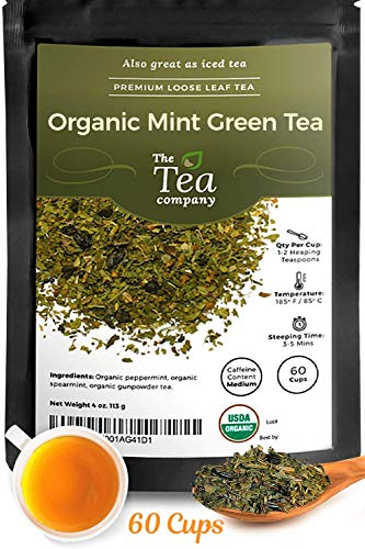(Organic Mint Green Tea Loose Leaf Spearmint Peppermint Moroccan by The Tea Company 4oz)