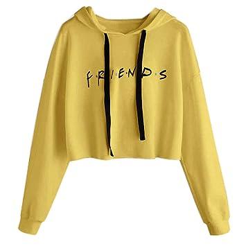 JAGENIE Womens Friends Letter Impreso Hoodies Casual Crop Tops Pullover Sudaderas Suaves: Amazon.es: Hogar
