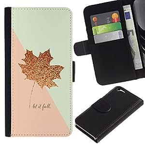 KingStore / Leather Etui en cuir / Apple Iphone 6 / Hoja de Otoño Canadá Oro Rosa Otoño;