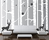 Birch Tree Wall Decal Forest with Owls and Deer Vinyl Sticker Removable (10 Trees) #1323 (96'' (8ft) Tall, White Trees - Dark Gray Animals)