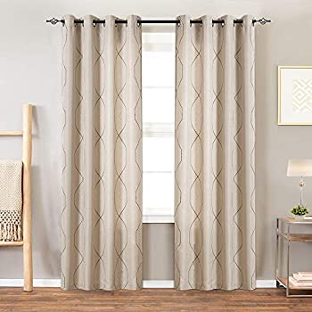 jinchan Sheer Embroidered Curtains for Living Room Grommet Top Embroidery Curtains for Bedroom 84