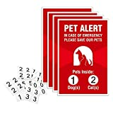"""Pet Alert Sticker – 4 Pack – 4×6 inches – """"Pets Inside"""" Safety Window Decals"""