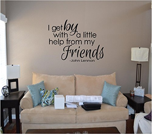 Quote It! - The Beatles I Get By with a Little Help From My Friends John Lennon Love Vinyl Wall Decal Wall Quotes Beatles Quote Romantic Wall Quotes Home Inspirational Decor Beatles Music Transfers