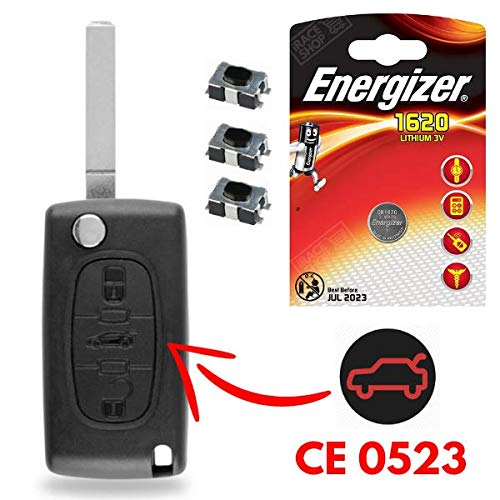 Carcasa de llave mando a distancia Plip Citroen C4 Picasso Berlingo Jumpy ➜ 3 Switch ➜ 1 pila CR1620 Energizer