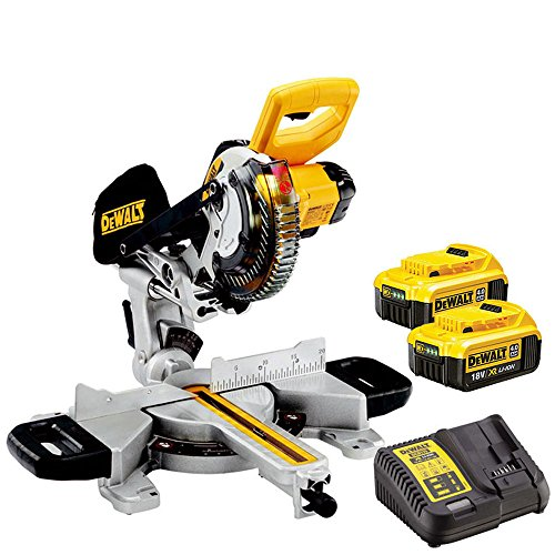 Dewalt DCS365N 18V 184mm Cordless Mitre Saw with 2 x 4.0Ah DCB182 Batteries & Charger