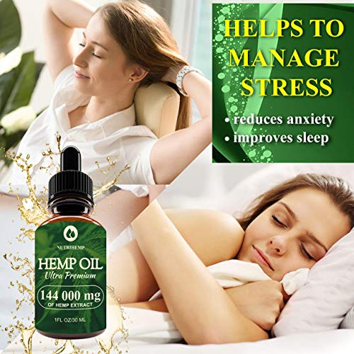 Hemp Oil Drops 144 000mg, 100% Pure Natural Ingredients, Co2 Extracted, Helps Cope With Anxiety and Pain, Promotes Relaxation, Vegan Vegetarian Friendly