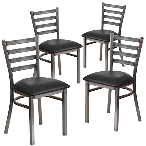 Flash Furniture 4 Pk. HERCULES Series Clear Coated Ladder Back Metal Restaurant Chair - Black Vinyl Seat (Chairs Back Used Ladder)