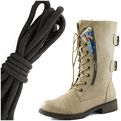 DailyShoes Womens Military Lace Up Buckle Combat Boots Mid Knee High Exclusive Credit Card Pocket, Solid Black Flirty Beige