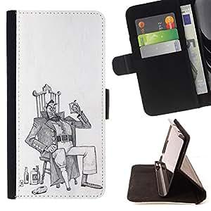 Stuss Case / Funda Carcasa PU de Cuero - Alcool homme ivre Art dessin au crayon - Motorola Moto E ( 1st Generation )