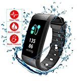 Fitness Tracker, Heart Rate Blood Pressure Monitor Read R11 Pedometer Calorie Counter Activity Tracker Sleep Monitoring Call SMS SnS Remind Watch for Android iOS (Black) …