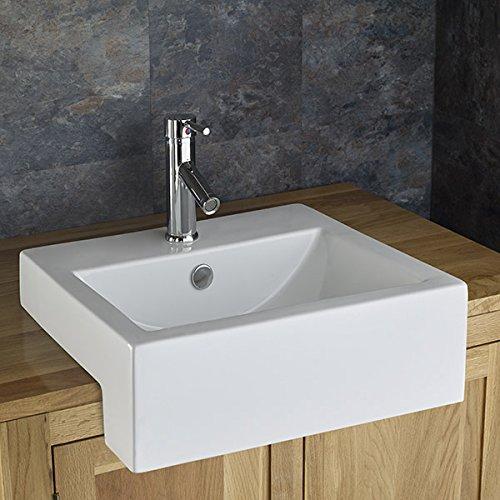 Clickbasin Santana 50cm X 46cm Semi Recessed Rectangular Bathroom Washbasin