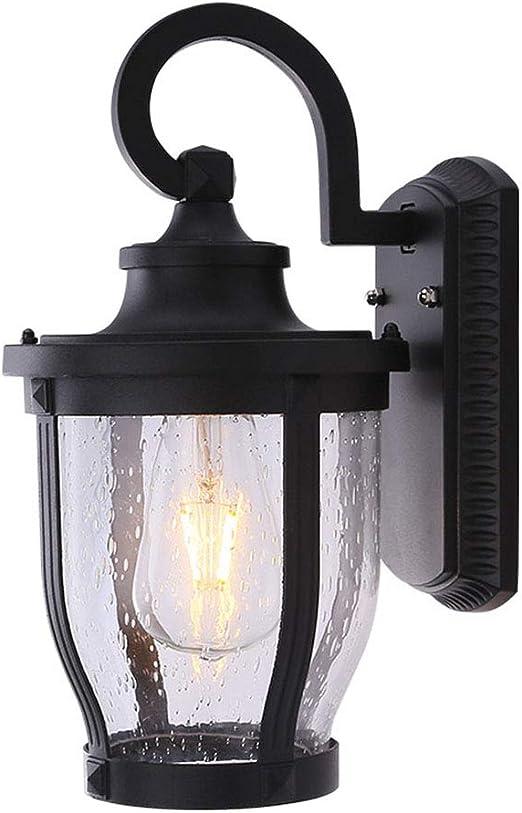 Aplique LED para Exteriores Luz de jardín ático Vintage Resistente al Agua Lámpara de Pared de fachada Simple Aplique de Pared con Casquillo E27 y Pantalla de Vidrio para Balcones, Jardines,: Amazon.es: