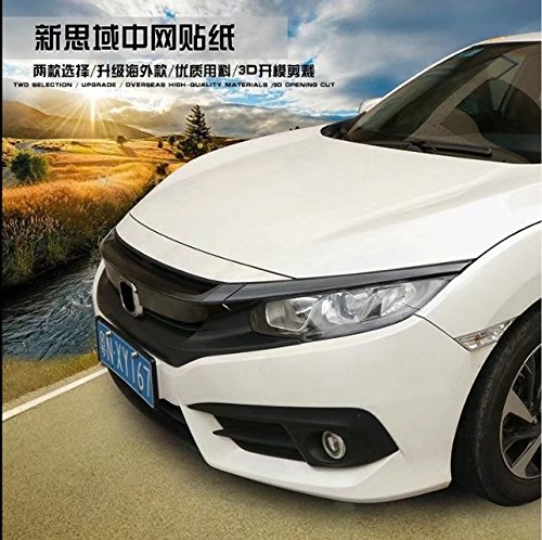 Detached Carbon Fiber Front Grill Grille Emblem Sticker Protective Films for Honda 10th Civic