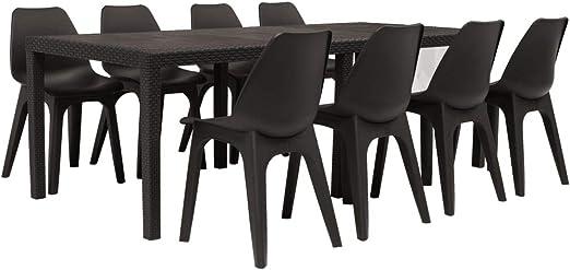 Tidyard 9 Piezas Muebles Jardin Exterior Conjunto de Comedor de jardín plástico, marrón,1 Mesa y 8 sillas: Amazon.es: Hogar