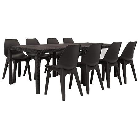 Tavoli E Sedie Da Giardino In Pvc.Vidaxl 9x Set Da Pranzo Da Giardino In Plastica Marrone Tavolo E