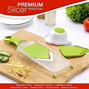 Premium Mandoline Slicer – Vegetable Slicer - Vegetable Chopper – Vegetable Cutter – French Fry Cutter – Tomato Slicer – Potato Slicer - Julienne Carrots