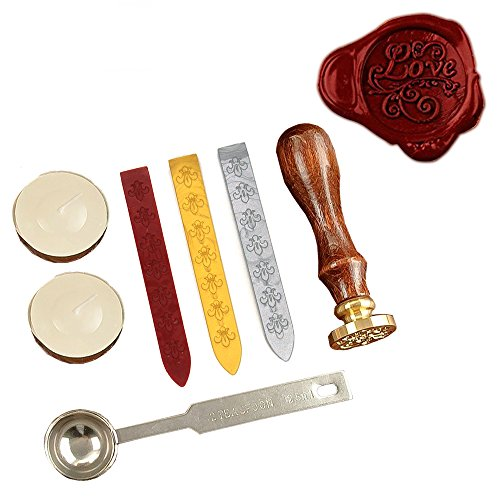 KI Store Wax Seal Stamp Kit LOVE Antique Alphabet Wax Sea...