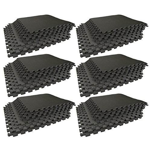 Best Step Interlocking Anti-Fatigue Flooring Tiles; For Home Gyms, Exercise Rooms, P90X, Insanity, Yoga, Gymnastics and Martial Arts. Heavy Duty/Durable Foam Tiles that are Water Resistant (6 Pack)