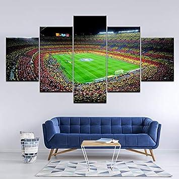 Framed FC Barcelona Stadium Football 5 Piece Canvas Print Wall Art Home Decor