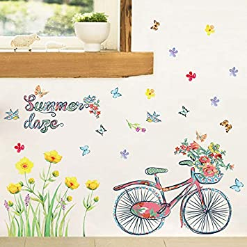 YKLOPI Dibujos Animados Verano Bicicleta Mariposa Flores ...