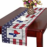 InterestPrint Texas Stars Map with Texas State Flag On Wood Background Table Runner Cotton Linen Home Decor for Wedding Party Banquet Decoration 16 x 72 Inches