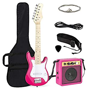Best Choice Products 30in Kids Electric Guitar Starter Kit w/ 5W Amplifier, Strap, Case, Strings, Picks – Pink/White 514BO F7QfL
