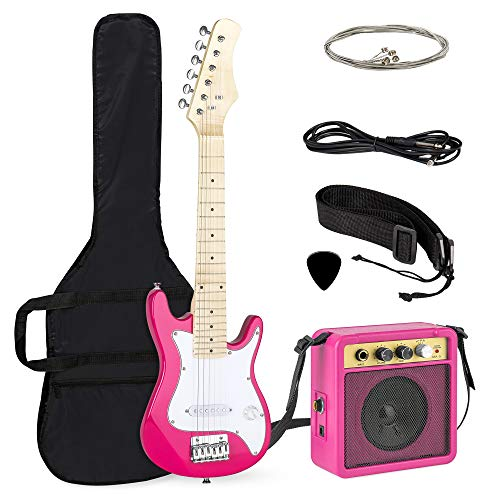 Best Choice Products 30in Kids Electric Guitar Starter Kit w/ 5W Amplifier, Strap, Case, Strings, Picks - Pink/White