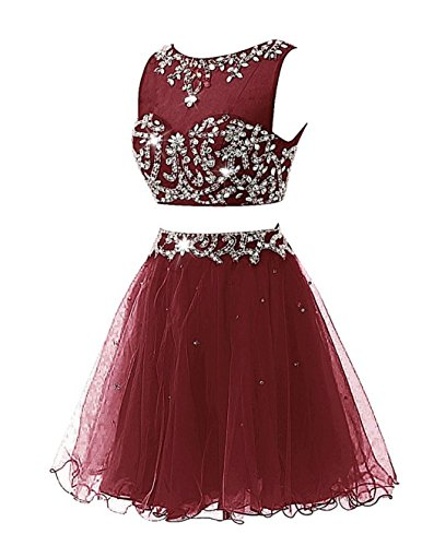Ballkleid Kleid Pieces Party Abendkleider Burgundy Two Beaded Women's Cocktail Fanciest Kurz q6IgBW