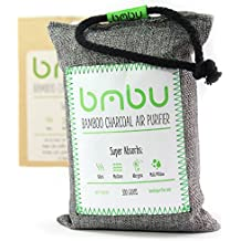 bmbu Bamboo Charcoal Car Deodorizer/Car Freshener Bag - Remove Odor, Control Moisture & Purifier Your Car, Closet, Bathroom, Kitchen, Litter Box - Non-Fragrant Alternative to Sprays (1)