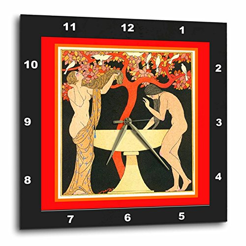 (3dRose dpp_44759_2 Barbier Art Nouveau with Ladies in Black N Red Frames Wall Clock, 13 by)